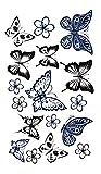 Temporäres Arm Fake Tattoo Schmetterling Butterfly Entfernbare Klebe Henna Tattoos Festival Abziehtattoo für Frauen und Mädchen