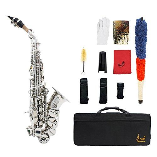 ammoon LADE Messing Golden schnitzen Muster Bb Bend Althorn Sopran Saxophon Sax Perle weiße Schale Schaltflächen Blasinstrument mit RS Handschuhe Tuch Fett Gürtel Reinigungsbürste
