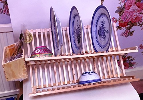 Plate &Cutlery Combined Racks 2-Tier Pine wood Dish Drying Rack 52cm: Folding kitchen dish drainer With Hanging cutlery Holder Cookware Company