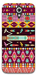 The Racoon Lean printed designer hard back mobile phone case cover for HTC Desire 620g. (Pink Aztec)