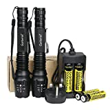 2 Pack Tactical Flashlight LED T6 Torch Camping Light with 4 Pieces 18650