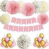 TopDeko Geburtstagsdeko Mädchen und Jungen, Geburtstag Dekoration Mädchen und Jungen mit 30pcs Große Geperlte Ballons, 9Pcs Seidenpapier Pompoms, 1 Set Happy Birthday Banner (Rosa)