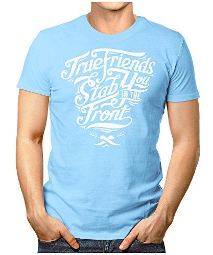 PRILANO Herren Fun T-Shirt - TRUE-FRIENDS - Small bis 5XL - NEU Hellblau