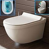 Spülrandloses Hänge-WC aus Sanitärkeramik Wand WC Set mit Duroplast-WC-Sitz inkl. Soft-Close-Funktion passend zu GEBERIT