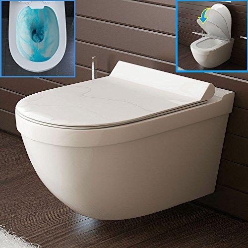 Wand-WC Spülrandlos Weiss Keramik Hänge Toilette inkl. Duroplast WC-Sitz mit Soft-Close Funktion passt zu GEBERIT