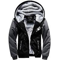 Fairy Tail Hoodie Men Winter Plus Thick Sweatshirt Jacket Anime Cosplay Costume Cotton Raglan Padded Zip Jacket for Adult Clothing