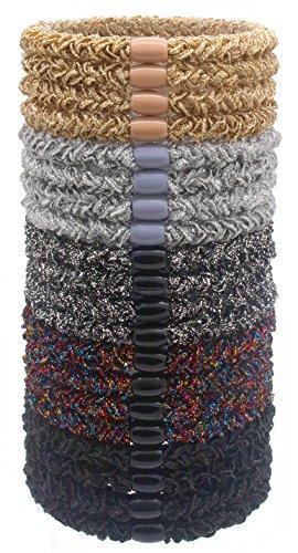 Hollihi 20pezzi grandi elastici per capelli pony coda di cavallo supporti per capelli spessi–corde di tessuto elastico elastici per capelli bande Boutique per donne e ragazze, brillantini