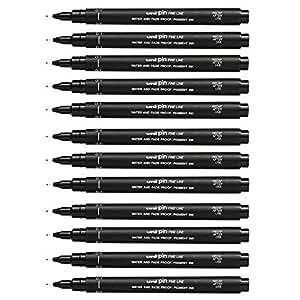 Uni Ball Pin Black Technical Drawing Marker Pen 0.1mm - Box of 12 Pens