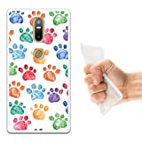 WoowCase Lenovo Phab 2 Plus Hülle, Handyhülle Silikon für [ Lenovo Phab 2 Plus ] Hund Fußabdruck Handytasche Handy Cover Case Schutzhülle Flexible TPU - Transparent