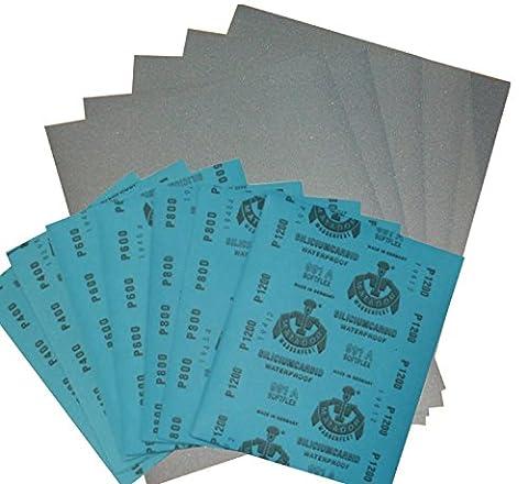 Wasserschleifpapier 12 Blatt je 2 Blatt 800 1000 1200 1500 2000 3000 / Maße 230 mm x 280 mm / Nass-Schleifpapier / bestes Oberflächenfinish / flexibles Trägerpapier / kurze Einweichzeiten / optimale Anpassung an die Objektkonturen / hohe Abtragsleistung durch gleichmäßige Rauhtiefe / Aufpolieren mit Hochglanzpolituren / kleine Ausschleifungen von