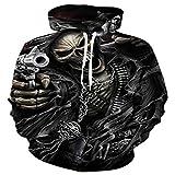 TING Black Skull Gun 3D Impresion Digital Hooded Sweater el otoño y el Invierno de los Hombres de Gran tamaño Sportswear,5XL.