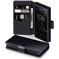 Xperia XZ1 Compact Hülle, Terrapin [ECHT LEDER] Brieftasche Case Hülle mit Standfunktion Kartenfächer und Bargeld für Sony Xperia XZ1 Compact Tasche - Schwarz