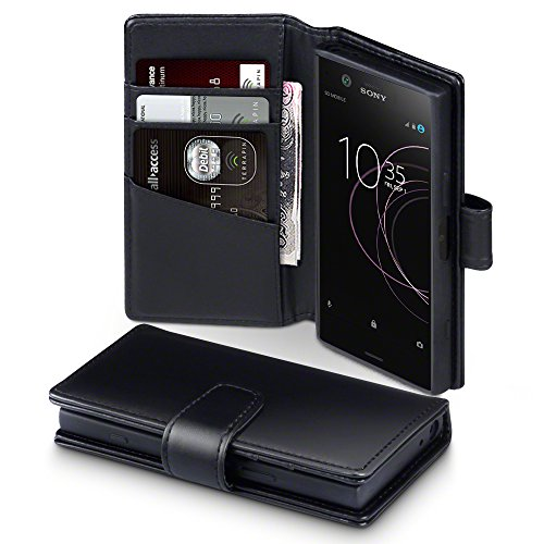 Terrapin, Kompatibel mit Sony Xperia XZ1 Compact Hülle, [ECHT LEDER] Brieftasche Case Tasche mit Standfunktion Kartenfächer und Bargeld - Schwarz