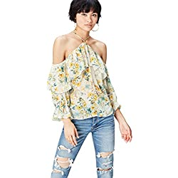 FIND Floral Chiffon Blusa para Mujer, Multicolor (Yellow Mix), 46 (Talla del Fabricante: XX-Large)
