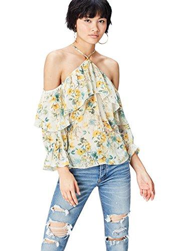 find. Damen Bluse mit Chiffon und Blumenmuster, Mehrfarbig (Yellow Mix), 38 (Herstellergröße: Medium) -
