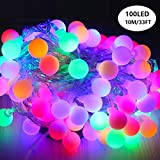 LED Ball String Lights, Zimingu 33ft 100 LED Wasserdicht Innen/Außen Bunte Ball Lights mit Plug, 8 Lighting Modes Strin