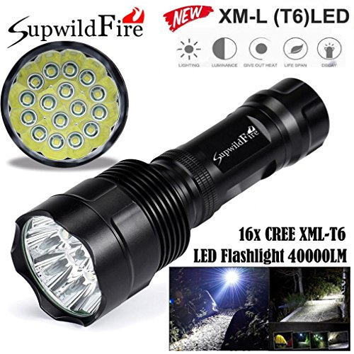 HCFKJ SupwildFire 40000Lm 16x CREE XML T6 LED 5 Modus LED Taschenlampe Licht - Elektroschocker Led-taschenlampe