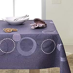 110x160 cm graphit grau stahl dunkelgrau Tischdecke Tischtuch Kreisen geometrisches Muster gestickt elegant praktisch pflegeleicht Leinoptik Lein Optik mit Borte Modern STP3767