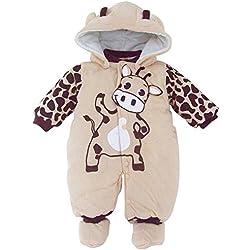Minetom Bebé Chicas Chicos Unisexo Monos Calentar Mameluco Encapuchado Trajes Para Niños Beige 4-6 Meses