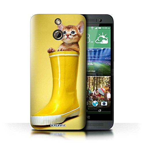 Kobalt® Imprimé Etui / Coque pour HTC One/1 E8 / Miroir conception / Série Chatons mignons Botte en caoutchouc