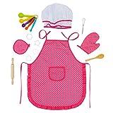 Glonova Conjunto Chef para Niños 17pcs Juguetes de Cocina Juegos de rol Traje Sombrero Utensilios de Cocina Incluidos