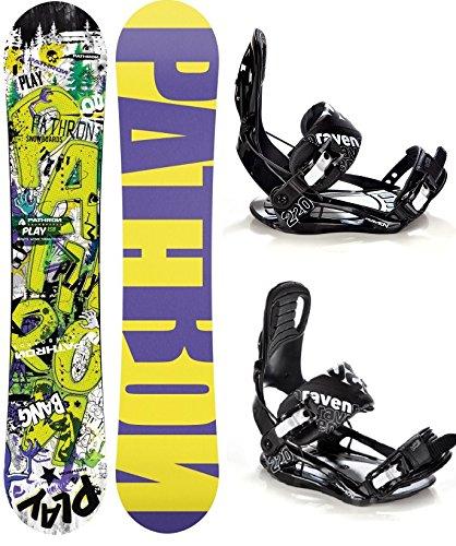 Snowboard Set: Snowboard Pathron Play Pro Rocker + Bindung Raven s220 Black XL