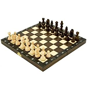 "10.5"" European School chess set. Ornate folding board & pieces"