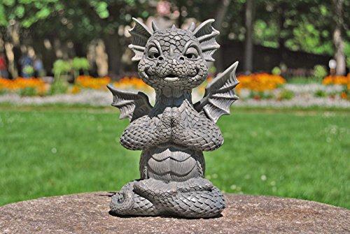 Ars-Bavaria Jardín Dragón en el Lotus Asiento Yoga Dragón Figura Jardín Figura