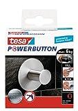 tesa Premium-Haken, selbstklebend, hält bis zu 6kg, rund, Edelstahl