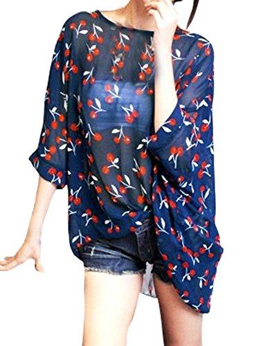 sourcingmap Femme Semi-transparente imprimé Manches chauve-souris En vrac Tunique Chemisier bleu-cerises