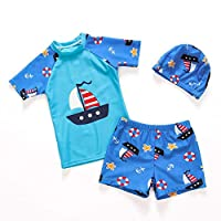 Lefuku Boys Swimsuits Short Sleeves 2 Piece with Hats Sunscreen Swimming Costume Boys Swimwear Beachwear for Kids 2-10 Years
