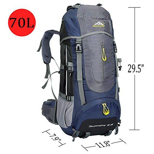Ticktock Ong 70L viaggio Zaino Grande Escursionismo Alpinismo Ruck Sacco Borsa Bagagli Bag Resistang per All'aperto Campeggio Arrampicata Campeggio (verde) blu navy
