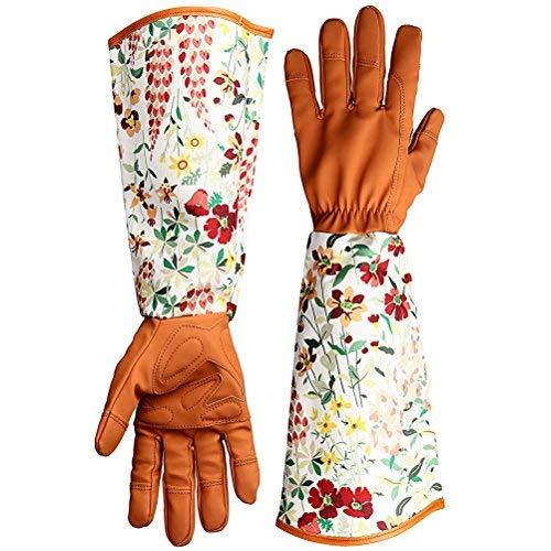 Kuou Thorn Proof Leder Garten Handschuhe, Floral Print ärmel Garten Topfhandschuh, Lang Arm Arbeitshandschuhe für Frauen (Thorn Proof-garten-handschuhe)