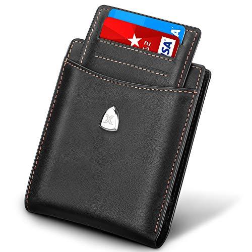 Portafoglio uomo blocco rfid vera pelle con 14 slot per schede, slim porta carte credito con tasca per monete,tasche contanti,finestra di identificazione,slot per carte di credito+confezione regalo