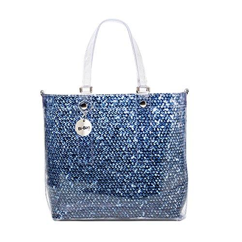 BI-BAG borsa donna modello EASY DIAMOND + pochette interna Blu Effetto Paillettes