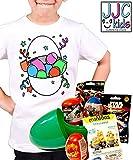 JJCkids Riesiges Überraschungseier für Jungen, gefüllt mit Angry Birds, Star Wars Marvel Minions + Kinder-T-Shirt