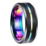 Nuncad Ring für Hochzeit, Verlobung, Valentinstag, Geburtstag aus Wolframcarbid, Unisex Ring für Damen/Herren 8mm breit schwarz + Multifarbe Regenbogen Design, Größe (27)
