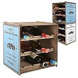 Weinregal Flaschenregal im Shabby Chic Look - stapelbar - für 12 Flaschen 38 x 30 x 39,5 cm in Weiß oder Blau Vintage Weinschrank (Blau)