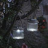 Lámpara colgante para jardín inteligente, con energía solar, estilo córnico, 2 unidades