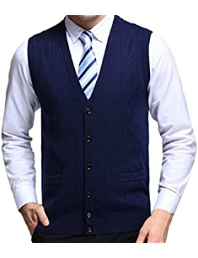 Zhhlaixing De los hombres Mens Father Soft Wool V-neck Pullover Knitted Knitwear Jumper Vest Waistcoat Gilet Cardigans...