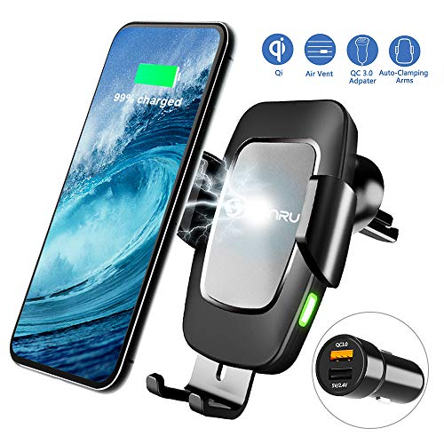 Wireless Charger Auto mit QC3.0 Adapter, Qi Handy Halterung KFZ Induktion Ladegerät Lüftung & Armaturenbrett Kompatible 7,5W/10W Fast Charging für iPhone11/Max/XS/8, Galaxy S10/9/8/Note 10, Schwarz