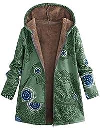 QUICKLYLY Abrigo Mujer Invierno Rebajas,Mujeres Suelto algodón Caliente Impreso Bolsillos más Grueso Chaqueta con