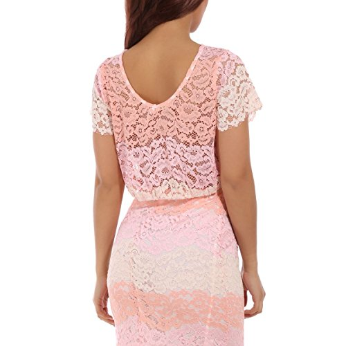 La Modeuse - Crop top en dentelle transparente Rose