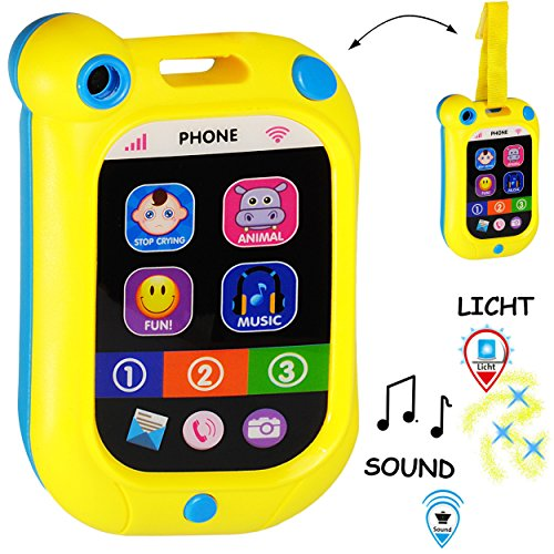Preisvergleich Produktbild alles-meine GmbH Smartphone - Handy mit - 40 Sound´s & Musik & LED Licht -  Gelb / Blau  - in..