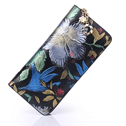 APHISONUK Ladies Genuine Leather Long Wallet Classic Painted Clutch Card Holder Purse for Women Designer/Gift Box (Black)