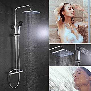 Chrome Rainfall Shower Systems Mixer/Square Bath Shower Head Hose Set with Thermostatic Mixer Bar Valve/Rain Shower Head/Hand Held Shower/Riser Rail/Shower Hose All-In-One