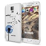 NALIA Handyhülle kompatibel mit Samsung Galaxy S5 S5 Neo, Slim Silikon Motiv Case Hülle Cover Crystal Dünn Durchsichtig, Etui Handy-Tasche Back-Cover Transparent Bumper, Designs:Dandelion Blau