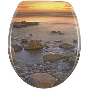Wenko 17612100 Thermoset Plastic Toilet Seat Stone Shore