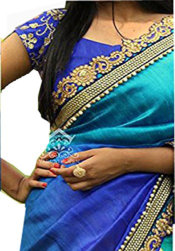 Sunshine Fashion Georgette Saree With Blouse Piece (Sunsa1911_Blue_Free Size)