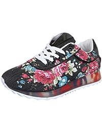 Low-Top Sneaker Damenschuhe Low-Top Sneakers Schnürsenkel Ital-Design Freizeitschuhe